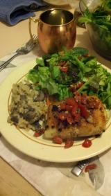 crab stuffed sole and mushroom risotto